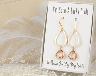 Peach Triangle Gold Drop Earrings, Gold Blush Earrings, Champagne Earrings, Bridesmaid Jewelry, Peach Wedding Jewelry, Bridal Accessories