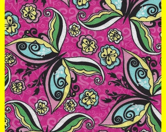 Pink Butterfly Cotton Fabric Remnant 1.6 Yards 13 Inch Wide