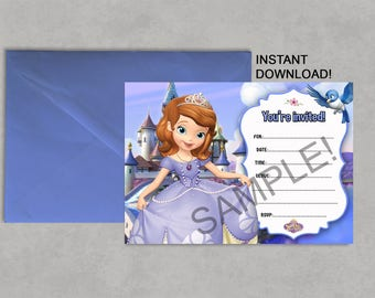 Sofia the 1st invite etsy sofia the first inspired printable birthday invitation diy blank fill in yourself instant download jpeg pdf solutioingenieria Choice Image