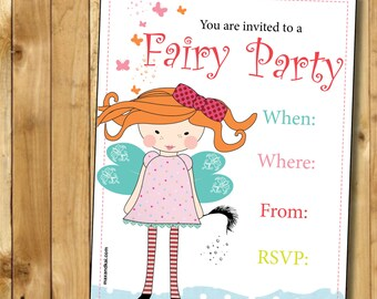 Fairy Instant Printable Invitation - Instant Download DIY Printable for 'Cute Fairy' Party Invite