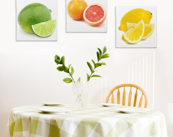 Modern Kitchen Art 'Citrus Zest' Food Painting - Brushstroke Giclée Print on Canvas - Lime, Grapefruit and Lemon - Bright Contemporary Art