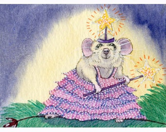 Miss Maddy Mouse fairy outfit signed art print