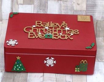 Personalised Medium Christmas Eve Box, Wooden Christmas Eve Box, Personalised Christmas Eve Box, Keepsake Box
