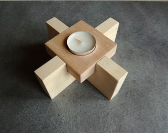 Stand, centerpiece candle 1 tree and exotic wood 14 x 14 cm high 6 cm