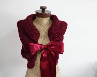 wedding shawl, burgundy, Wedding cover up, bolero, ivory, beige, white, wedding bolero, winter wedding wrap, rustic wedding, knit wrap,