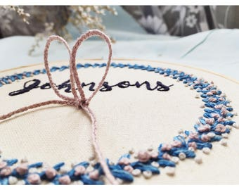 Personalized Wedding Hand Embroidery Hoop Art/  Personalized Ring Holder Wedding Hand Embroidery  /  Custom Hand Stitched Wedding Hoop