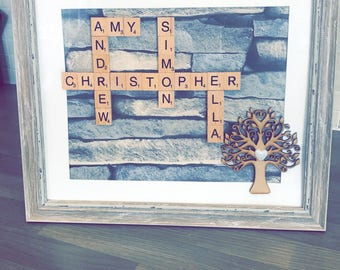 Family tree scrabble name frame. Colours of your choice, frames of your choice. Made to order specifically for you