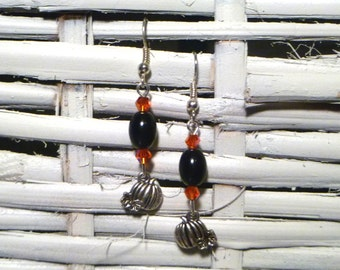 Silver Plated Pumpkin Earrings with Orange Crystals and Black Faux Pearls