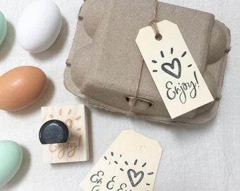 Egg Carton Stamp - Enjoy - Fresh Eggs - Egg Stamp - Egg Carton Label - Farmhousemaven
