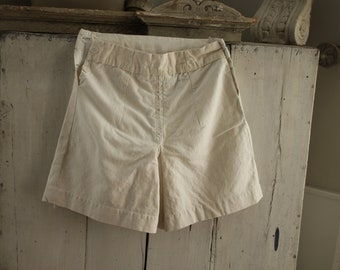 French vintage ladies shorts skort heavy plain white linen coulottes bloomers sport 1930's clothing