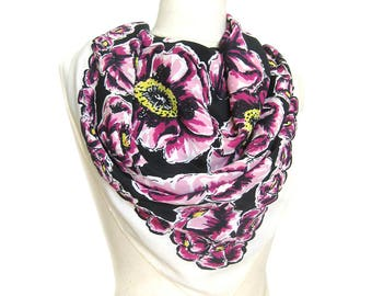 1950s Vintage Rayon Scarf / Large Floral Print / Black, Pink and Yellow Floral Scarf