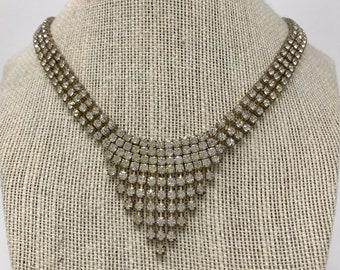 Authentic Art Deco Rhinestone Cascade Necklace