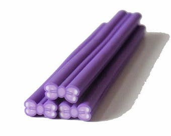 1 x cane polymer clay purple bow