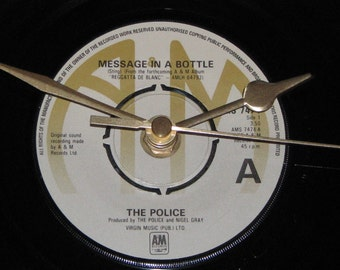 "The Police message in a bottle  7"" vinyl record clock"
