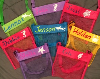 kids shell bags, beach bag, personalized