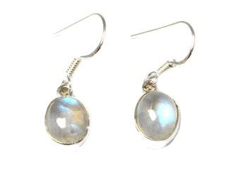 Oval  MOONSTONE Sterling Silver Gemstone Earrings 925