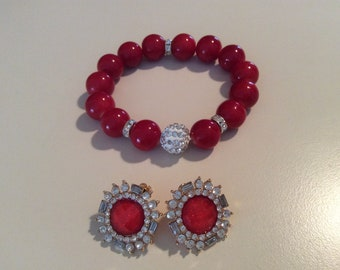 Red rhinestone bracelet and earring set