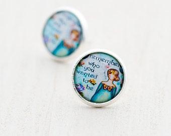 Art Earrings - Teal Green Earrings - Whimsical Earrings - Inspirational Earrings - Teen Earrings - Collage Graduation Gift - Remember