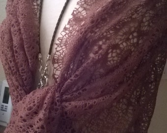 Stole wedding crocheted Brown fabric