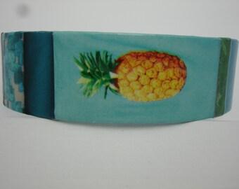 Pineapple Bracelet Pineapple Cuff Decoupage Cuff Bracelet pineapple jewelry
