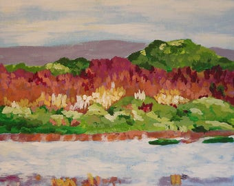 River bank, print of original acrylic painting by Silke Thiess