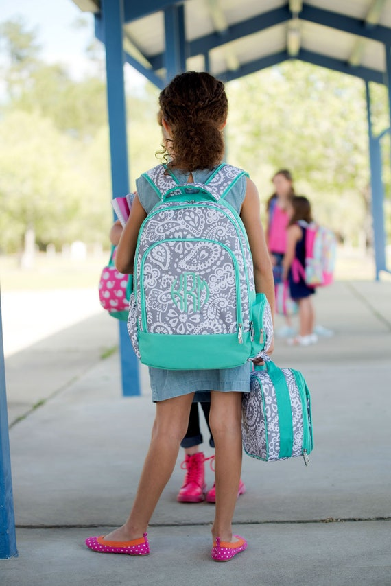 Gray and Mint Paisley Monogrammed Backpack