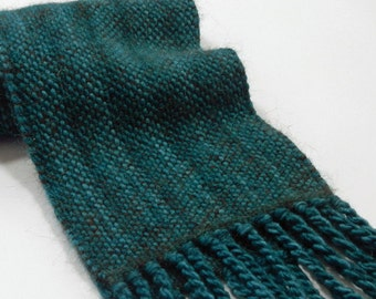 Handwoven alpaca merino scarf teal tweed