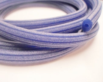 """SALE: PER 8"""" Blue Violet Corduroy Rubber Licorice Cord with Hole,"""