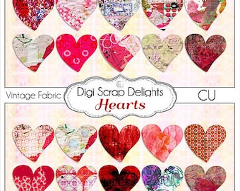 Digital Vintage Ephemera Altered Hearts Mixed Media Clip Art for Digital Scrapbook Embellishment or Collage Sheet, Instant Download
