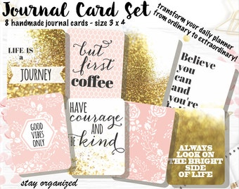 Motivational Quotes Journal Cards Project Life Cards Journaling Cards Scrapbook Cards Journaling Assorted Cards Scrapbooking 3x4 Cards JC010