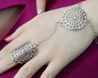 Turkish silver hollow flower Turkish bracelet with ring