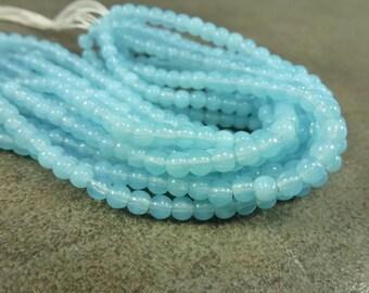 Czech Glass Druk Light Blue Opal 4mm 50pc Strand Round Beads