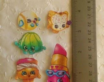 Shopkins  5pc set Iron On Fabric Appliques No Sew