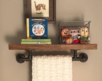 "Rustic Industrial Floating Shelf with Towel Bar 8"" deep, Wood and Pipe Shelf, Bathroom Wall Shelves, Nursery Shelf, Coffee Bar Shelf"
