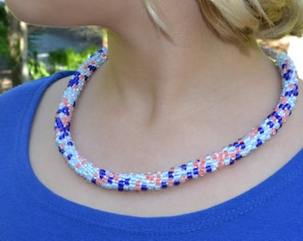 B4B - Royal Blue, Tangerine & Sky Kumihimo Necklace - Time to have a Good Look?  Come on In......