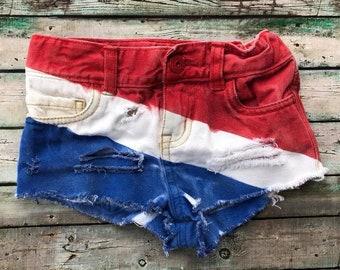 Americana Distressed Shorties, Denim, 4th of July, America, Merica, Red, White, Blue, Fireworks, Toddler, Girls, Baby Girl, Summer