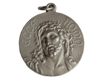 Holy Face of Jesus Christ Medal - Large French Religious Ecce Homo Medal Pendant Charm - Virgin Mary Lourdes Souvenir