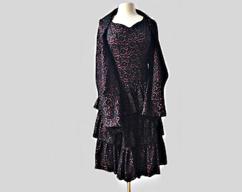 Vintage 60s black lace cocktail dress & wrap shawl/ pink lining/tiered illusion party dress/ handmade black and pink evening dress