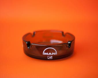 ashtray, MAN, smoked glass ashtray advertising collection, accessory smoking, made in france, ashtray, 60s/70s