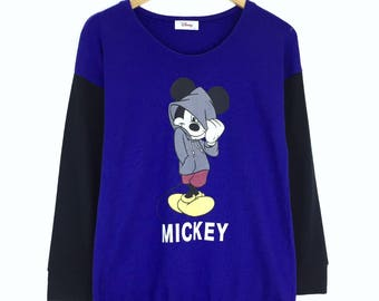 Rare!!! Vintage Mickey Mouse Sweatshirt Pullover Jumper Sweater Character Fashions Cartoon Disney Blue