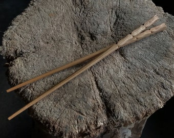 "10"" black cherry chopsticks, hand carved"