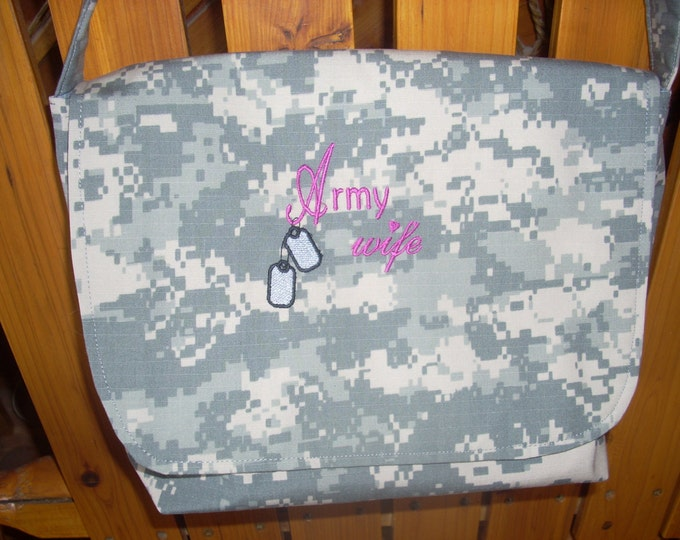 Army messenger bag free personalized custom embroidery you design and I make it. Choose colors, words, trim, style, cross body regular strap