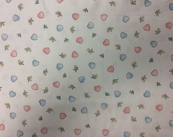 Pink and Blue Hearts/ White Background/ Cotton Fabric