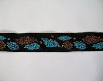 Black background with pattern woven Ribbon braid turquoise and Brown leaves with thread lurex - ref B10