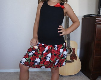 Olivia Paige - Little pin up Tattoo Rock rockabilly skull skeleton roses  girl dress