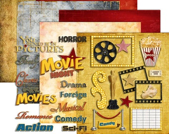 Movie Clipart Digital - Movie Scrapbook Cinema Film Theater Clipart - Printable Papers -  Printable - Instant Download