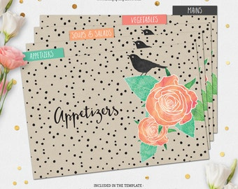 Printable RECIPE CARD Template + Dividers - Watercolor Roses / Flowers - EDITABLE Template - Hand Lettering, Peach, Coral, Mint & Linen