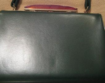 VTG Forest Green Leather Kelly Bag