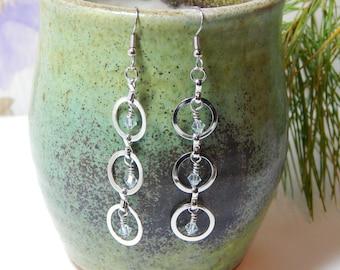 Circle Silver Crystal Dangling Earrings/ Gifts for Her / Swarovski Earrings/ Sparkling Earrings / Circles/ Wedding Earrings/ Bridesmaid Gift