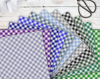 Gingham cotton pattern in 24 colors • digital download • for calendars, photo albums, digital scrapbooking collages, greeting cards, jewelry